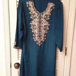 Blue Teal Gold Embroidered Indian Boho Dress M